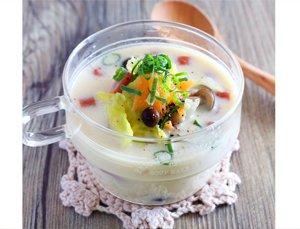 レンジで豆乳味噌クリームスープ