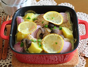 鶏レモン豆乳クリーム煮