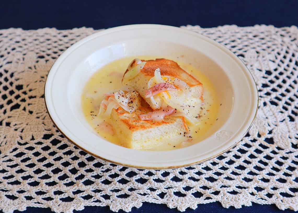カルボナーラ風 豆乳スープパン