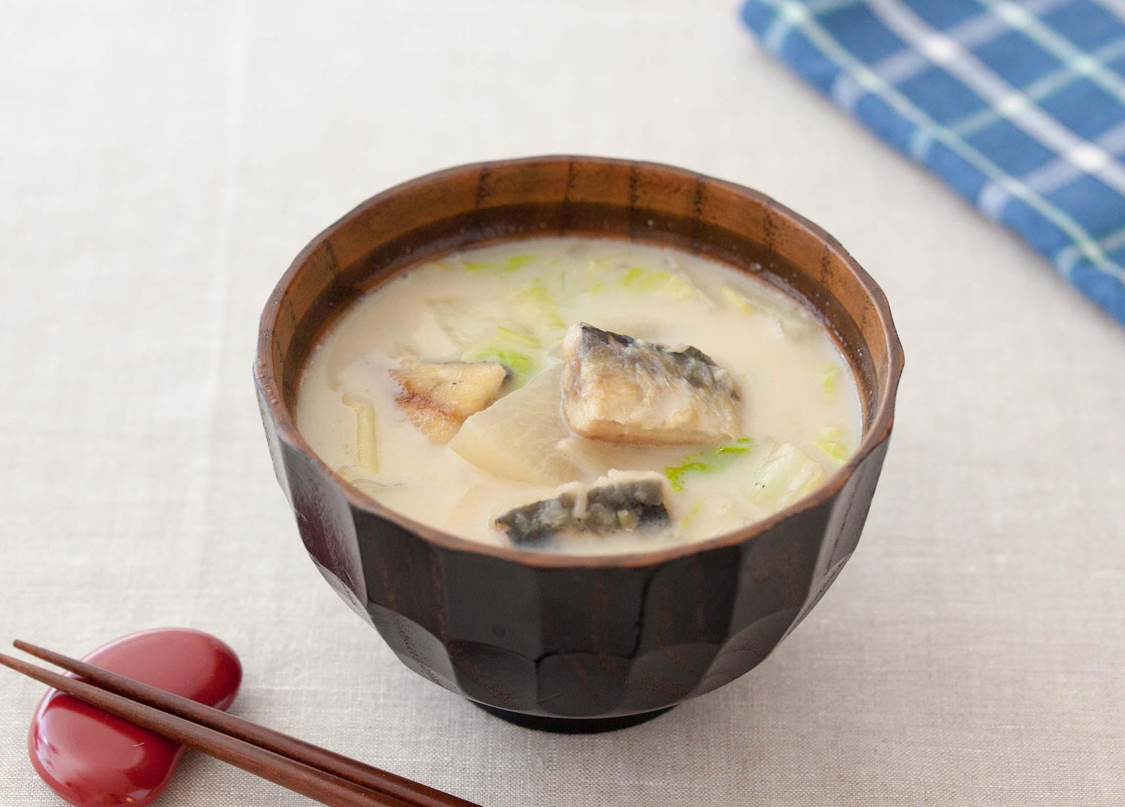 いわしの和風豆乳スープ
